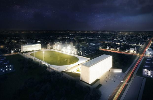 Projeto de campo de futebol 'flutuante' da Universidade Federal de Ciências da Saúde de Porto Alegre, vencedor na categoria Esportes e Estádio (Foto: AR MIPIM Future Projects Awards)