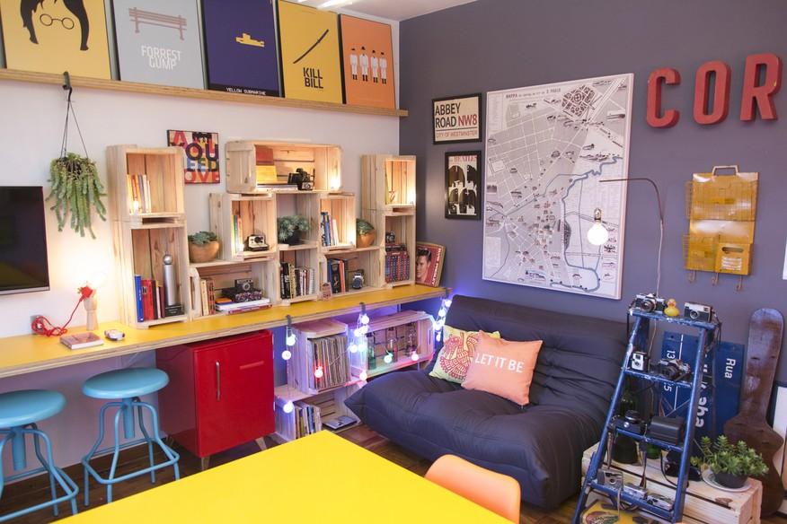 Sala De Estar Com Home Office ~  se na decoração feita por Rosenbaum em um home office compartilhado