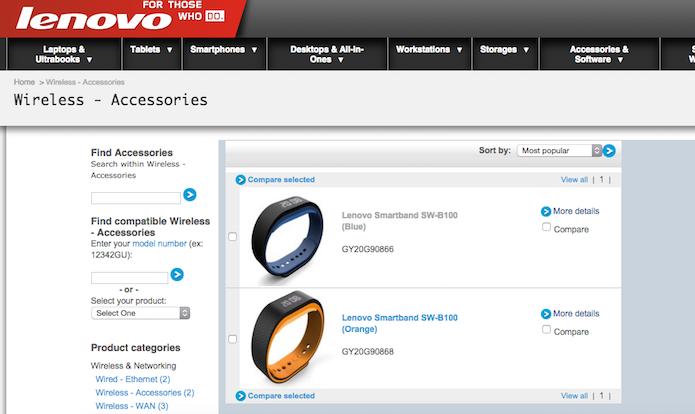 Smartband da Lenovo aparece em duas cores no site: azul e laranja (Reprodução)