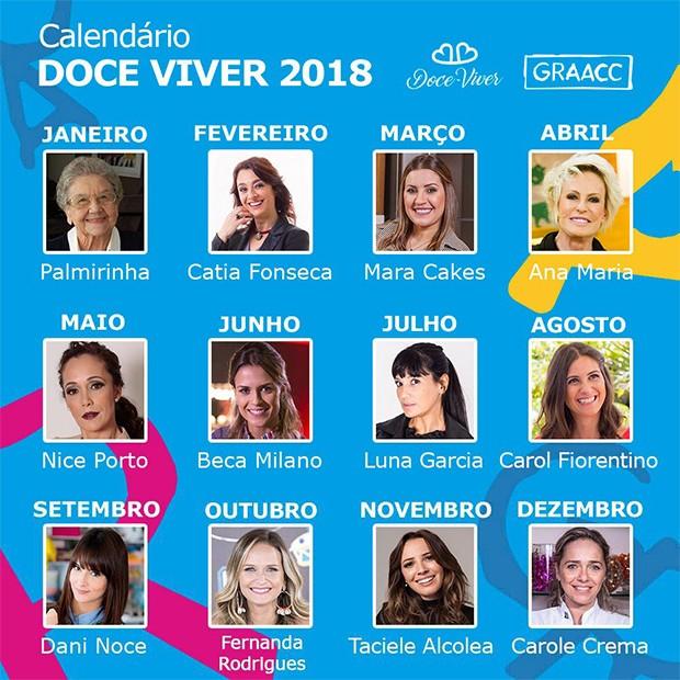 Calendário Doce Viver 2018 (Foto: Estúdio Gastronômico/ Divulgação)