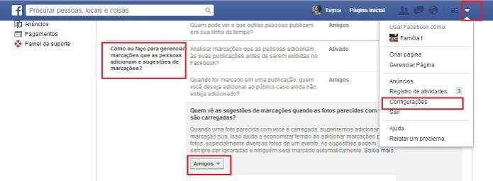 Evite que seu nome seja sugerido em marcações no Facebook (Foto: Reprodução/Taysa Coelho)