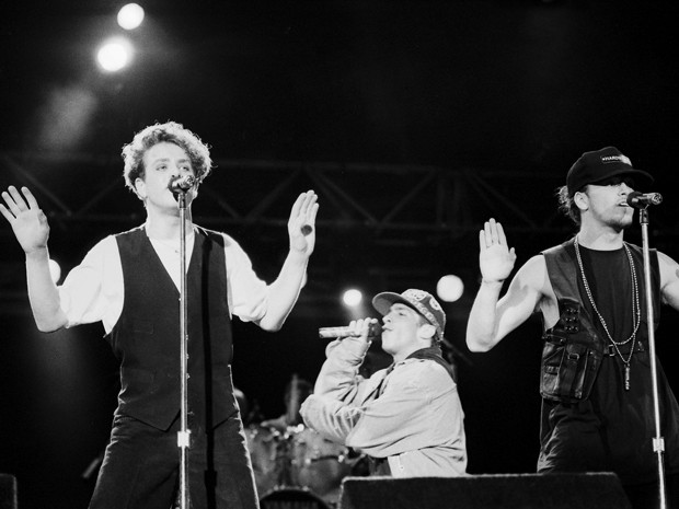 A banda New Kids on the Block toca no Rock in Rio em 1991 (Foto: Jonas Cunha/Estadão Conteúdo)