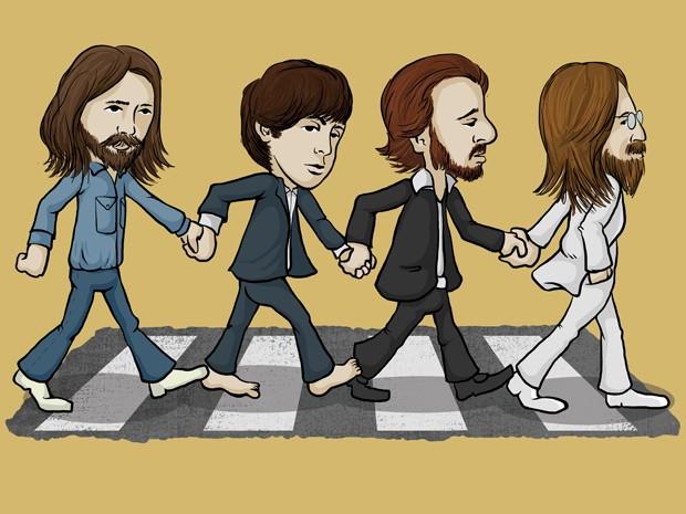 """Os Beatles também aparecem no livro: """"Essa turma fez história no rock! Criaram músicsa muito especiais, eternas. Eles estavam sempre juntos, até para atravessar a rua. Não esqueça: precisamos de um adulto para atravessar a rua, é mais seguro. E sempre na faixa, hein!"""" (Foto: Divulgação)"""