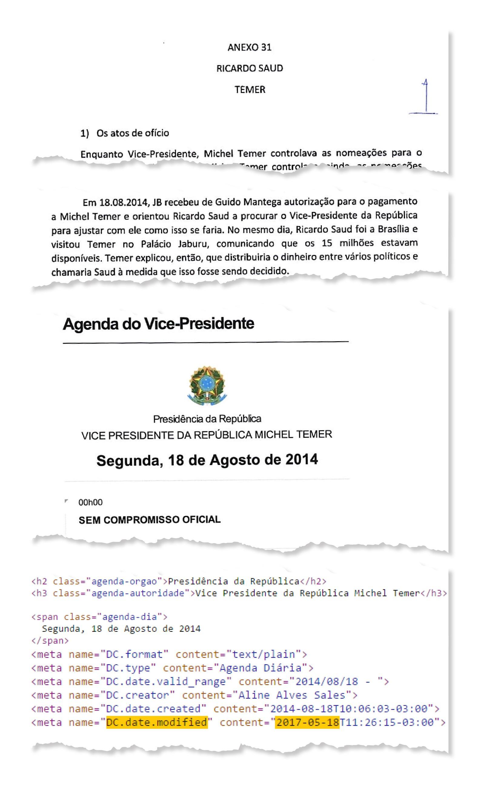 Agenda da vice-presidência não registrou encontro com executivo da JBS; código-fonte alteração no dia da Operação Patmos (Foto: Reprodução)
