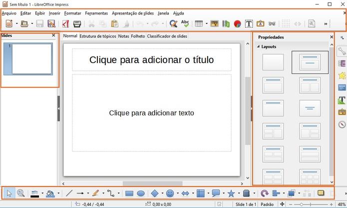Recurso do LibreOffice para a criação de apresentações em slides (Foto: Reprodução/Barbara Mannara)