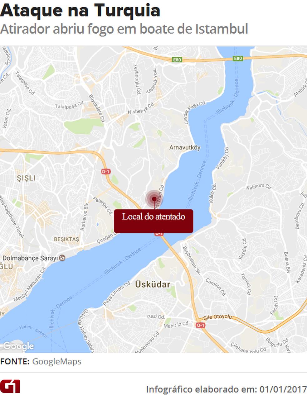 Atirador atacou frequentadores de casa noturna em Istambul, na Turquia (Foto: Infográfico G1)
