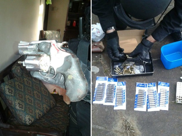 Polícia apreendeu revólver e munição usada no cárcere privado de idosa em Porto Alegre (Foto: Divulgação/Brigada Militar)