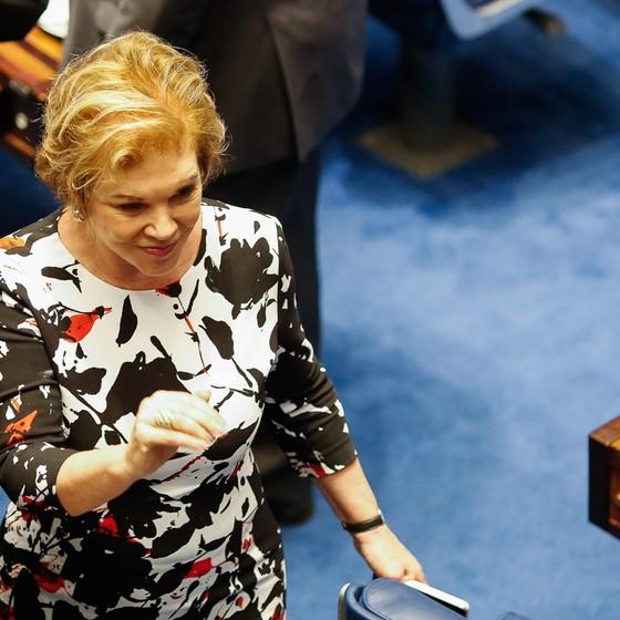 Marta Suplicy durante pronunciamento de Dilma Roussef no Senado. (Foto: Sergio Lima/ Época)