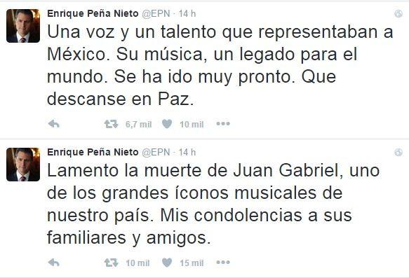 Presidente do México, Enrique Peña Nieto, lamenta morte de Juan Gabriel (Foto: Reprodução / Twitter)
