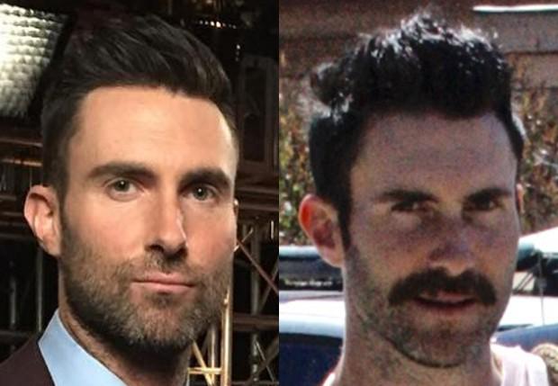 Adam Levine em visual antes e depois do bigodão (Foto: Reprodução/Instagram e Grosby Group)