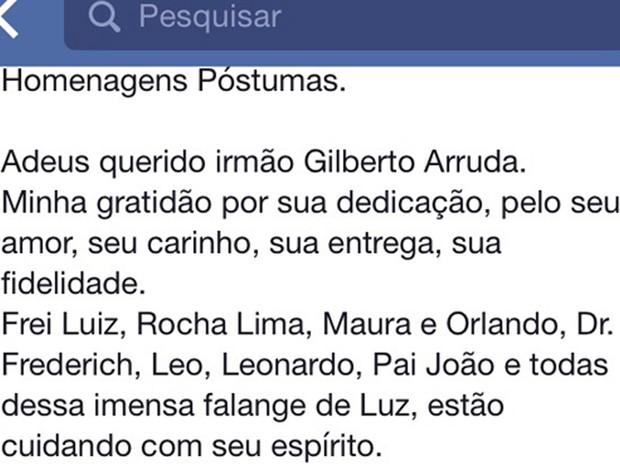 Amigos se despediram de médium no Facebook (Foto: Reprodução/Facebook)