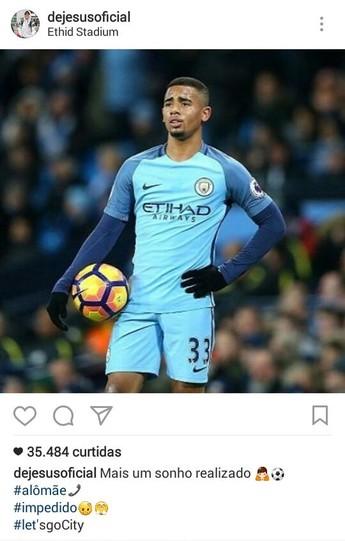 Gabriel Jesus Manchester City x Tottenham instagram (Foto: Reprodução/Instagram)
