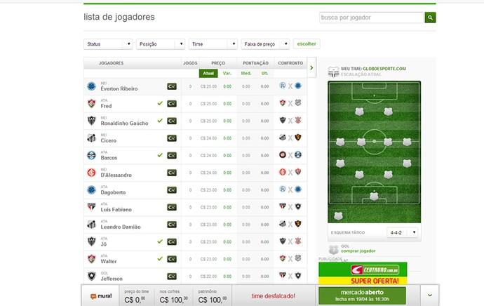 Guia Cartola tela Lista de Jogadores time (Foto: Reprodução)