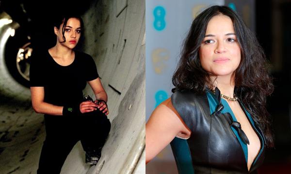 Michelle Rodriguez como Rain Ocampo e atualmente (Foto: Divulgação)