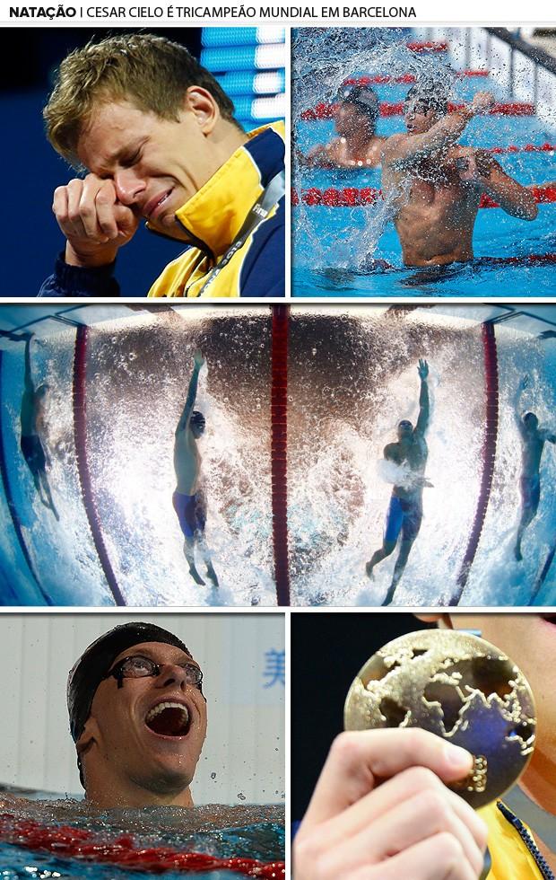 cesar cielo natação mosaico ouro natação barcelona 2 (Foto: Editoria de Arte)