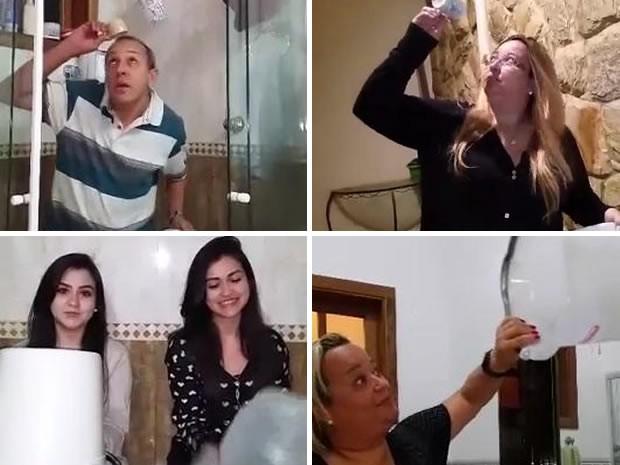 Moradores satirizam viral da internet ao usar baldes e canecas em água (Foto: Arquivo Pessoal)