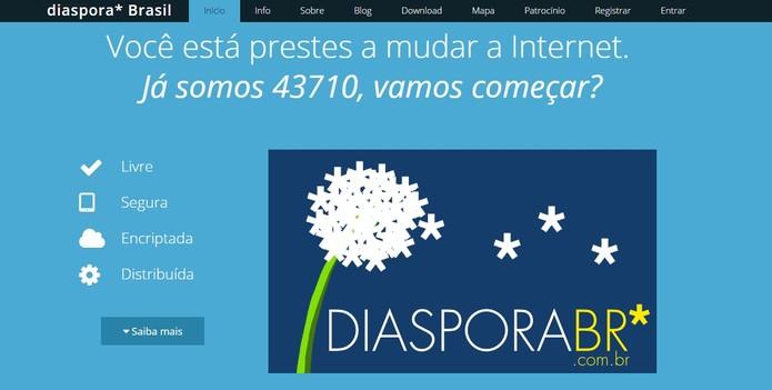 Diaspora é um conjunto de redes sociais federadas (Foto: Reprodução/Diaspora Brasil)