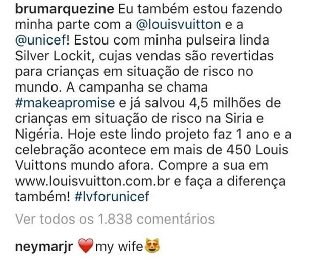 """Neymar chama Bruna Marquezine de """"minha esposa"""" em post (Foto: Reprodução/Instagram)"""