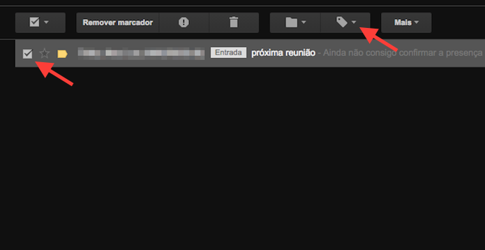 selecionando uma mensagem para inserir um marcador personalizado criado no Gmail (Foto: Reprodução/Marvin Costa)
