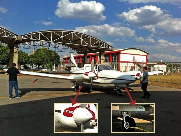 Foto do avião que desapareceu na Bahia tirada pelo internauta Leonardo Henrique Oliveira de Souza no início do mês no aeroporto de Brasília; nos destaques, a matrícula do bimotor (Foto: Leonardo Henrique Oliveira de Souza/VC no G1)