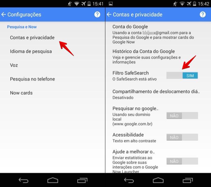 Ativando o filtro SafeSearch na busca do Android (Foto: Reprodução/Helito Bijora)