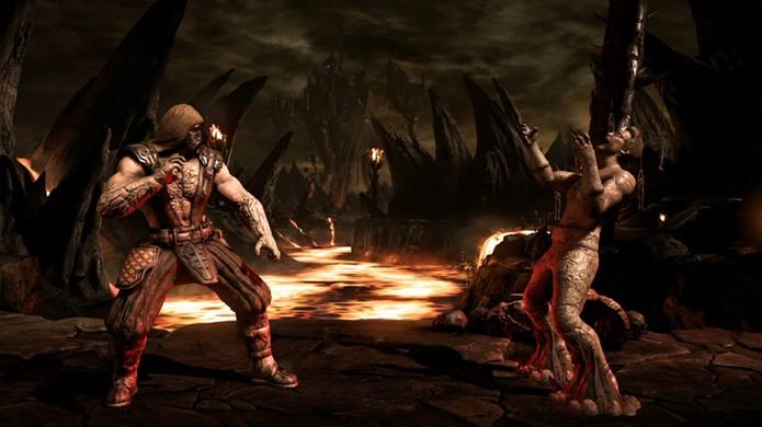 Para seu outro Brutality, Tremor prende as pernas do inimigo e o perfura com uma estalactite (Foto: Reprodução/Event Hubs)