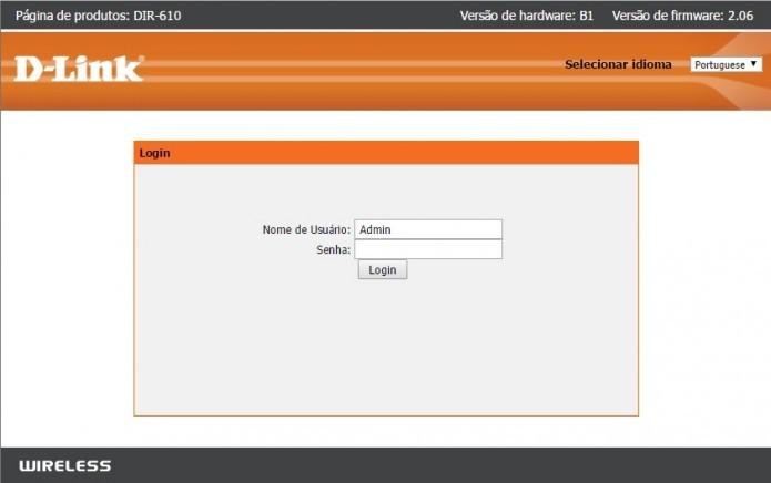 Acesse seu roteador através do navegador (Foto: Reprodução/Paulo Vasconcellos)