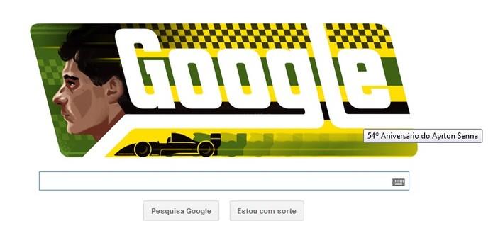Doodle do Google faz homenagem ao piloto Ayrton Senna da Silva, que faria 54 anos (Foto: Reprodução/Google)