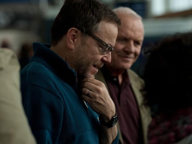 Fernando Meirelles e Anthony Hopkins durante as filmagens de '360', filme dirigido pelo brasileiro (Foto: Divulgação)