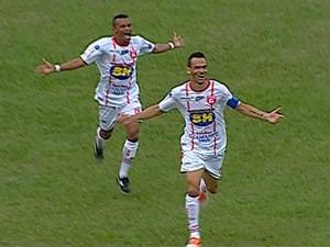 Michel Cury comemora o gol do Guarani-MG sobre o América-MG (Foto: Premiere FC)