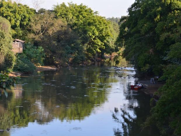 Rio Atibaia, em Campinas (SP), está com nível baixo (Foto: Jaqueline Zanoveli/ G1)