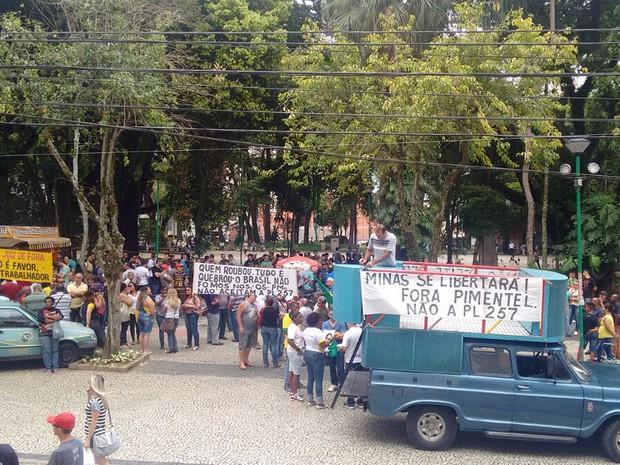 Protesto Juiz de Fora (Foto: Corpo de Bombeiros/Divulgação)