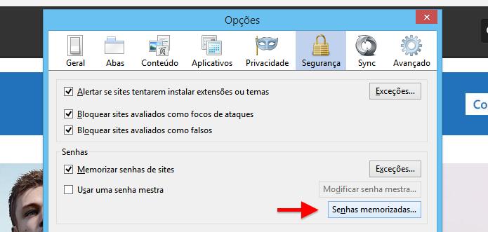 Gerenciando senhas salvas no Firefox (Foto: Reprodução/Helito Bijora)