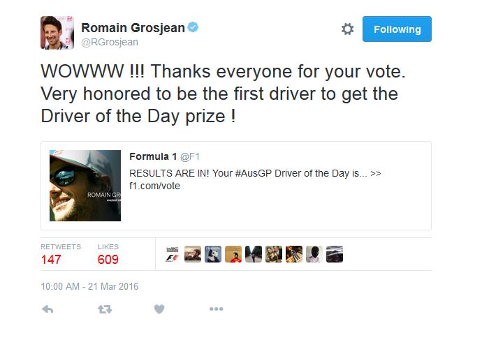 Grosjean agradece ao público por ter sido eleito piloto do dia (Foto: Reprodução/ Twitter)