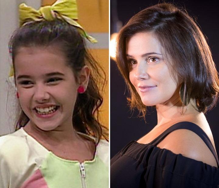 Deborah Secco como aluna da Escolinha e em sua série original do Gshow (Foto: Globo e Fábio Rocha/Gshow)