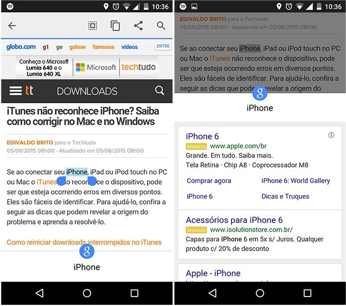 Recurso Tocar para pesquisar já aparece em alguns dispositivos Android (Reprodução)