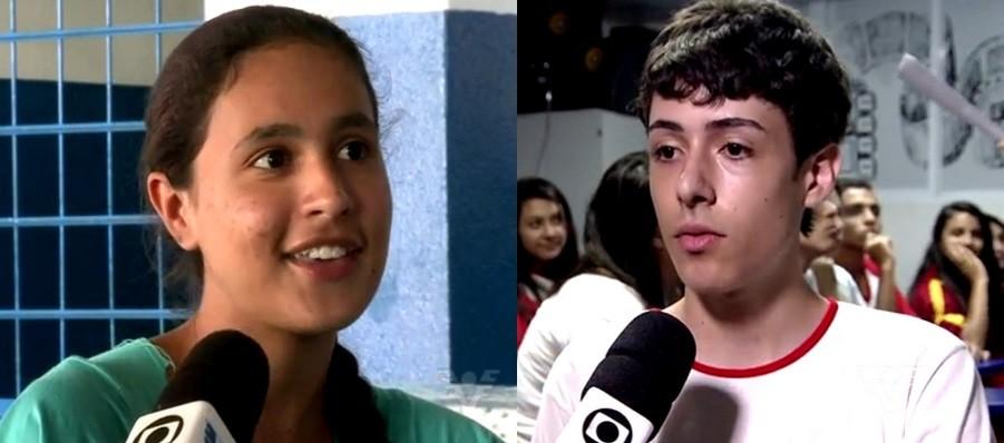 Letícia Alves - 2ª colocada, e Pedro Pavão - 3º colocado da categoria voto popular - Câmera Educação (Foto: Reprodução/TV Tribuna)