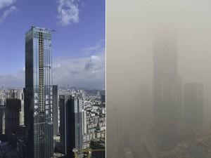 O arranha-céu de 75 andares de Shenyang é visto na província de Liaoning 10 dias atrás e nesta segunda (21), à direita, mostrando a diferença na qualidade do ar. A poluição, uma das preocupações crescentes na China, deixou a visibilidade inferior a 200 m. (Foto: Reuters/Stringer)