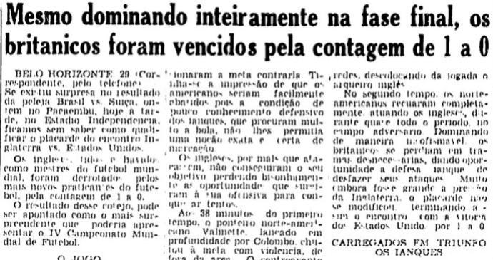 Matéria da Folha da Manhã relata jogo entre Inglaterra e EUA na Copa de 1950 (Foto: reprodução)
