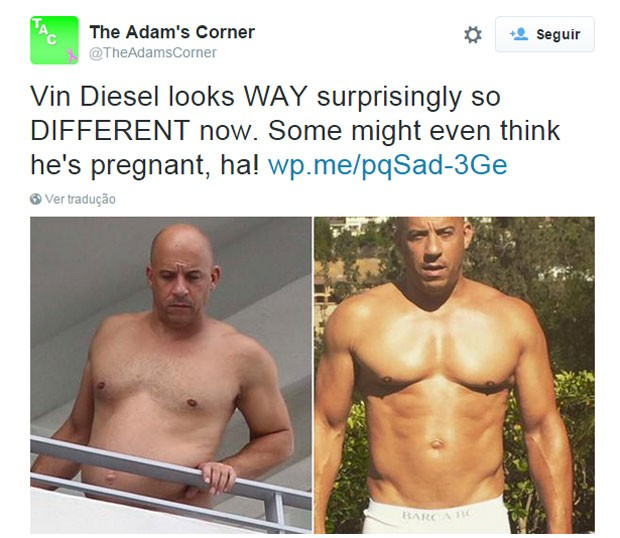 'Vin Diesel parece surpreendente tão diferente agora', escreveu usária do Twitter sobre o ator (Foto: Reprodução/Twitter/TheAdamsCorner)