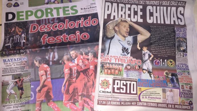 Esto e Sol de Toluca, jornais México Grêmio Toluca (Foto: Eduardo Moura/GloboEsporte.com)