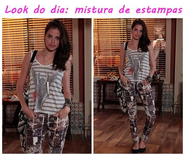 Dicas da Ju look do dia 2 mix de estampas (Foto: TV globo/Malhação)