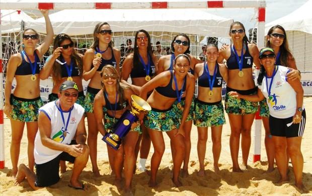 Apcef, equipe de handebol de areia da Paraína (Foto: Divulgação)