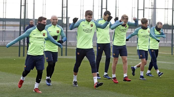 Messi e Piqué treinam em Barcelona (Foto: Divulgação / Barcelona)