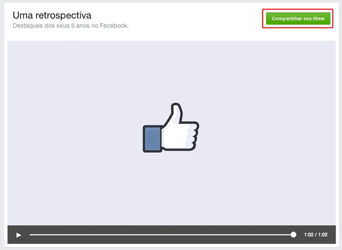 Compartilhe seu vídeo de comemoração de 10 anos do Facebook (Foto: Reprodução/Marvin Costa)