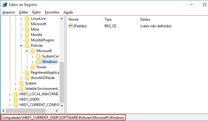 Acessando HKEY_CURRENT_USER\Software\Policies\Microsoft\Windows\ (Foto: Reprodução/Edivaldo Brito)
