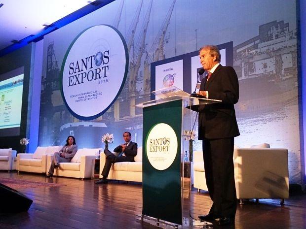 Ministro dos Portos, Edinho Araújo falou sobre investimentos portuários (Foto: Orion Pires/G1)