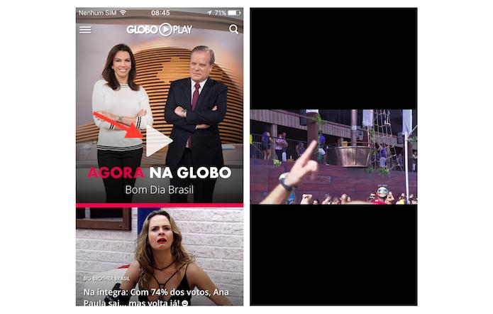 Iniciando a transmissão ao vivo da programação da Globo pelo aplicativo Globo Play no celular (Foto: Reprodução/Marvin Costa)