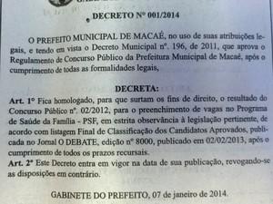 Concurso PSF Macaé (Foto: Divulgação)