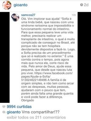 Famosos compartilham história da Sofia (Foto: Reprodução/ Instagram)
